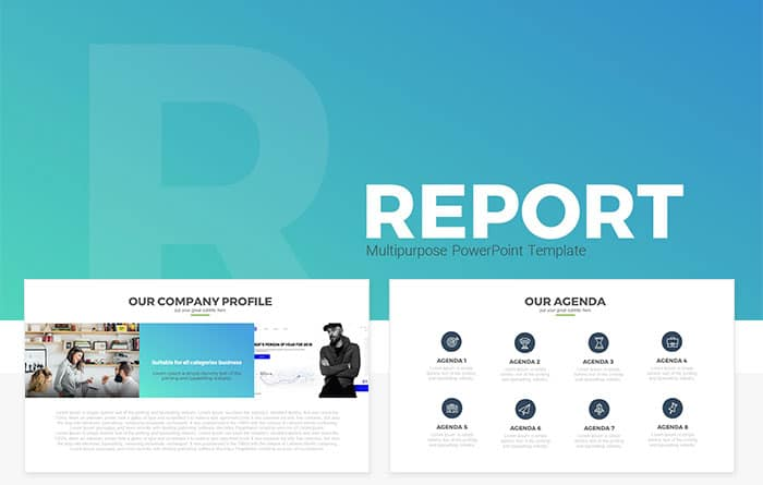 Report Multipurpose Free Powerpoint Template Slidecompass