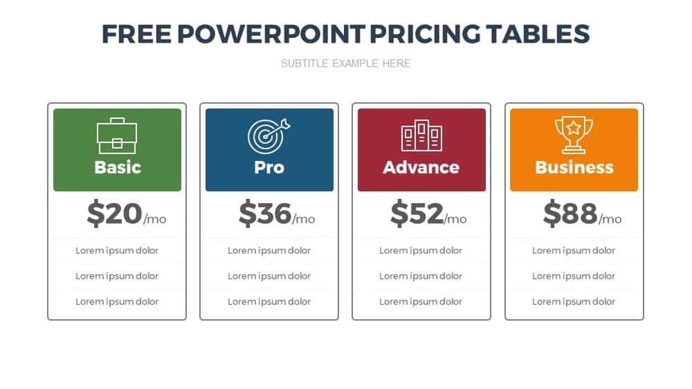 Free PowerPoint Pricing Tables